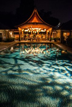 Planned and designed by Big Events. Lighting by Bright Event Productions. Gobo Patterns onto a Pool