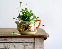 mid century majolica japanese figural tea pot