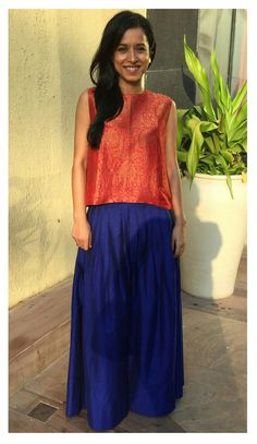 Tillotama Shome in payalkhandwala Brocade Top and Pleated Palazzo