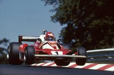 Niki Lauda/Ferrari 312 T2/Nürburgring/Second lap/1976 That day, Lauda won the most important race of his life and defeated the death. Six weeks later he returned to race, finishing 4th in Monza. And he showed everybody his cold blood and how big his...