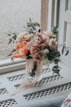 Wedding Bouquet by Laura Hingston Flowers - Boconnoc House Cornwall Exclusive Hire Wedding Venue Bride in Watters And Bridesmaids in Blush Pink with Flowers by Laura Hingston Images by Nick Walker