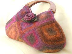 Felted Wool Jewel tone Fiber Art Granny Square bag by LJDBags, $125.00