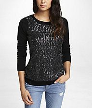 Express (MINUS THE) LEATHER SEQUIN SWEATER Style: 8268228 $79.9
