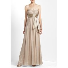 BCBGMaxAzria NWT gown BCBGMaxAzria champagne color gown. NWT. I took it to have tailored, but it still wasn't flattering on me. Small marks left from removal of tailoring. The marks are only noticeable when up very close. So gorgeous! BCBGMaxAzria Dresses