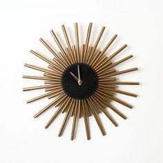 Wall Clock, Sunburst Clock,  Gold Wall Clock, Living Room Clock,   Home Decor, Decor and Housewares, Unique Gift
