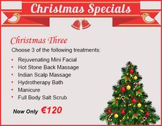 Christmas Gift Idea !! Your care and stress will start to melt away while relaxing in a luxurious surrounding with this package. Choose any three treatments from Rejuvenating Mini Facial, Hot Stone Back Massage, Indian Scalp Massage, Hydrotherapy Bath, Manicure, Full Body Salt Scrub. Spa Specials, Christmas Offers, Salt Body Scrub, Mini Facial, Modern Nails, Manicure, Nail Designs, Christmas Gifts, Nail Design