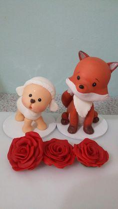 ovelha e raposinha do pequeno Príncipe em biscuit