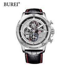 2016 Promoção Burei Moda Casual Men Watch Marca de Luxo de Alta Qualidade de Couro de Negócios Relógios de Quartzo relógio de Pulso À Prova D' Água(China (Mainland))