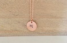 Rose Gold Necklace Initial Necklace Bridesmaid by AvaHopeDesigns