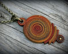 Bohemian polymer clay pendant Statement necklace от PeaceElements