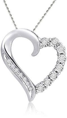 White Gold Round Shaped Diamond Heart Pendant