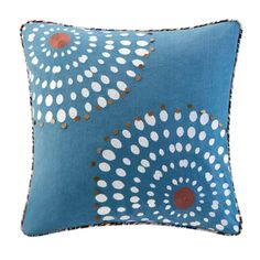 Echo Tribal Blocks Cotton Square Throw Pillow with beading