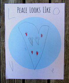 """Peace looks like."" activity for kids. Could be adapted to help children design their own quiet sensory space. Special project for Reading Marathon. Kindness Activities, Craft Activities For Kids, Educational Activities, Yoga For Kids, Art For Kids, Reading Marathon, Peace Education, Peace Poster, Childrens Yoga"