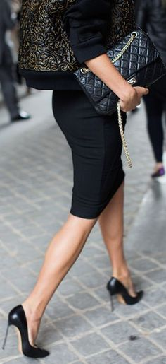 #Inspiration C L A S S Y In The City ~~~cannot go wrong with a pencil skirt and stilettos. can pair just about anything (within reason-do not for the love of God wear a shoulder cutout or flash too much skin on top (IMHO).