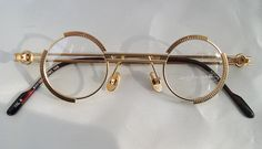 KOURE 8103 VINTAGE Round STEAMPUNK Industrial Design Glasses - Gold Metal Frame Eyeglasses by jadedminx on Etsy https://www.etsy.com/listing/91897904/koure-8103-vintage-round-steampunk
