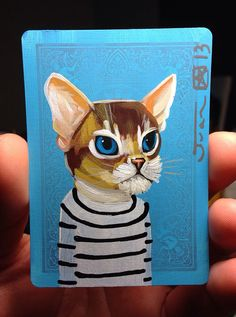 Cat portrait on a playing cards. Original acrylic.. 2013