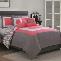 Avondale Manor Parker 6 Piece Comforter Set with Bonus Throw, Full/Queen, Coral/Grey Coral Bedroom, Teal Bedding, Bedroom Colors, Girls Bedroom, Master Bedroom, Bedroom Decor, Bedroom Ideas, Bedroom Designs, Decorating Rooms