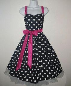 Black and White Polka Dot Pin Up Rockabilly Dress