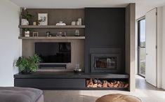 Best Modern Living Room Wood Burning Fireplace Design Photos And… - Dwell Wall Units With Fireplace, Home Fireplace, Modern Fireplace, Living Room With Fireplace, Fireplace Design, Living Room Tv Unit, Living Room Modern, Home Living Room, Living Room Designs