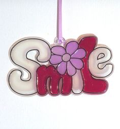 ORNAMENT  SMILE Acrylic  Wine  Clear Pink  by CreativeXpression1, $3.50