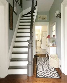 Painted Stairs – The How To – Designs By Karan 2020 - Hallway Ideas Painted Staircases, Hallway Paint, Staircase Design, Round Carpet Living Room, Wooden Stairs, Hallway Decorating Colours, Painted Floorboards, Painted Stairs, Stairs Colours