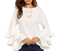 SheIn Women's Round Neck Ruffle Long Sleeve Blouse - White Small