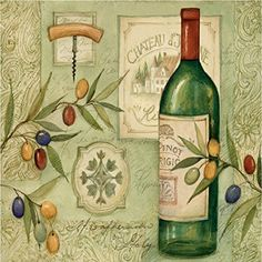 """Custom & Cool {3.5"""" Inches} Set Pack of 4 Square """"Grip Texture"""" Drink Cup Coasters Made of Flexible Poly Fabric w/ Rubber Bottom & Fancy Wine Bottle Oil Painting Design [Colorful Green & Tan] mySimple Products"""