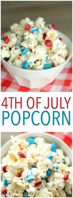 Cute and delicious of July patriotic popcorn. 4th Of July Desserts, Fourth Of July Food, 4th Of July Celebration, 4th Of July Party, Holiday Desserts, Holiday Treats, July 4th, Holiday Recipes, Patriotic Desserts