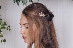 Crystal flower freshwater pearl bridal hair pin - Saffron