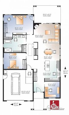 Plans maison on pinterest floor plans house floor plans for Barrier free house plans