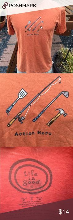 """Life is Good Mens """"Action Hero"""" T Shirt Size Small Size small. Super gently preowned. Be sure to view the other items in our closet. We offer both women's and Mens items in a variety of sizes. Bundle and save!! Thank you for viewing our item!! Life is Good Shirts Tees - Short Sleeve"""