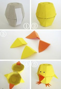 Create these super easy little chickens made using egg cartons!