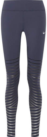Nike - Power Epic Lux Metallic Striped Dri-fit Stretch Leggings - Storm blue #ad #workoutoutfits