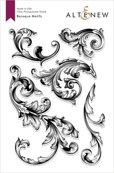 This stamp set contains five beautiful large baroque motifs. Given their delicate details, they will look great simply stamped or embossed. These images are perfect to make a subtle background using light colored inks, or a bold focal point using darker i Chicano Tattoos, Body Art Tattoos, Sleeve Tattoos, Motif Baroque, Motif Arabesque, Filigree Tattoo, Subtle Background, Tattoo Background, Schrift Tattoos