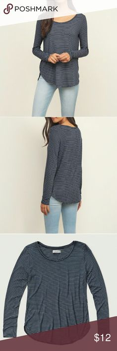 Striped Easy Long Sleeve Tee An easy tee in a relaxed silhouette. Finished with a crew neck and a curved hem. 95% viscose 5% elastane. Color is navy and white. Abercrombie & Fitch Tops Tees - Long Sleeve