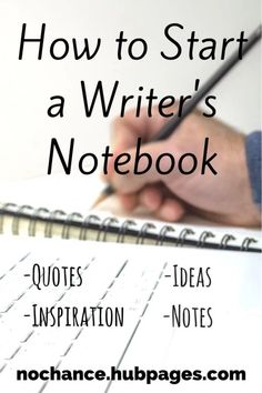 A writer's notebook or inspiration journal is a great way to inspire yourself through quotes, writing prompts, poems, pictures, or really anything else you find interesting. Writing Notebook, Book Writing Tips, The Notebook Quotes, Writing Words, Writing Lessons, Fiction Writing, Writing Skills, Writing Prompts, Start Writing