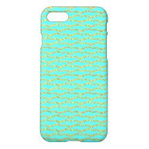 Golden waves on aqua backround iPhone 7 case #iphone7  #glitter #diamond #zazzle #phonecases #phonecover #iphone