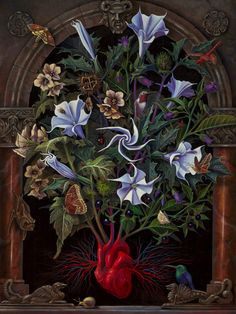 Sacred heart -BENJAMIN A. VIERLING Datura stramonium, Hyoscyamus niger, & Atropa Belladonna. - henbane, datura, and belladonna. The theme of the Sacred Heart further elaborates on the idea that life stems from a radiant source, however dangerous or venomous certain facets of it may be. The complex balance of nature.