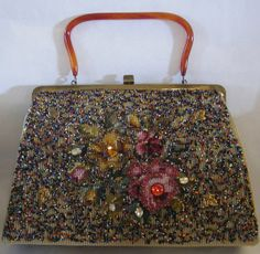 Vintage Purse Beautiful Beaded Soure' by TheVintageHandbag on Etsy, $78.00