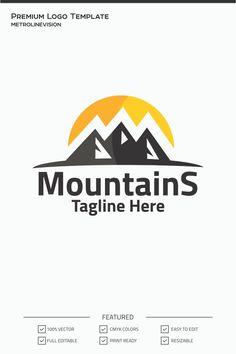 Mountains Logo Template, #Mountains #Logo #Template #Logo