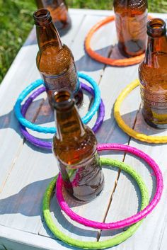 Ring toss game at a shabby chic western birthday party! See more party planning ideas at CatchMyParty.com!