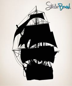 Ship Silhouette | ... Wall Decal Sticker Pirate Ship Silhouette 56inX36in item OSMB139B