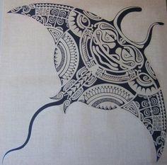 Maori Tattoo Pattern of Polynesian Manta Ray by Ta'a Tiki Tattoo Marseilles