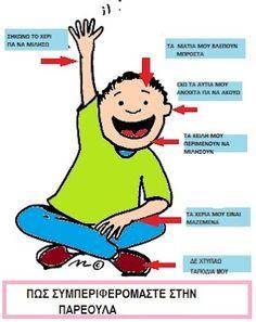 ΟΙ ΚΑΝΟΝΕΣ ΤΗΣ ΤΑΞΗΣ Class Management, Classroom Management, Class Rules, Classroom Rules, Preschool Themes, Kids Corner, First Day Of School, Physical Education, Learning Activities
