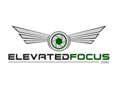 """ElevatedFocus.com by firstmove Going for a futuristic, aviation feel, this logo adds wings to the camera aperture. The line at the bottom, used to fill out the space behind """".com,"""" reminds me of laser like focus. #drone #photography #LogoDesign"""