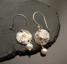 Petite Pearl and sterling Silver Earrings by designsbysuzyn, $48.00