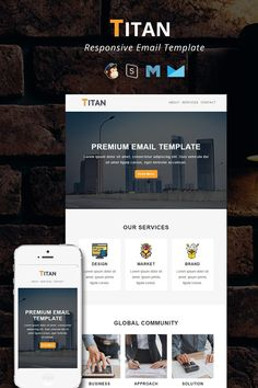 Corporate Responsive Email Newsletter Template Email Templates, Newsletter Templates, Mail Chimp Templates, Campaign Monitor, Responsive Email, Web Design Software, Email Client, Email Newsletters, Custom Fonts