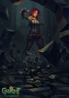 View an image titled 'Triss: Telekinesis Art' in our Gwent: The Witcher Card Game art gallery featuring official character designs, concept art, and promo pictures. The Witcher Geralt, Witcher Art, Triss Merigold Witcher 3, The Witcher Game, Witcher 3 Wild Hunt, Character Inspiration, Character Art, Character Design, Dark Fantasy Art