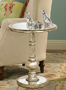 High Quality Contemporary Round Silver Pedestal Accent Table Metal Modern Stand Side