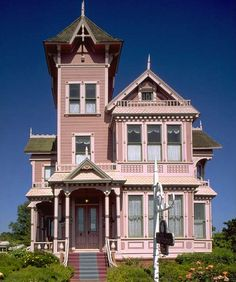 Pink Victorian House Arroya Grande, CA Victorian Style Homes, Victorian Cottage, Victorian Houses, Victorian Era, Victorian Buildings, Victorian Decor, Victorian Architecture, Amazing Architecture, Pink Houses
